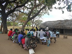 Health classes under a tree